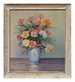 Mid Century Still Life -- Carnations in Blue Vase by Carlos