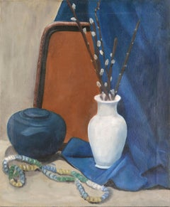 Mid Century Still-Life with Pussy Willows and Blue Drape