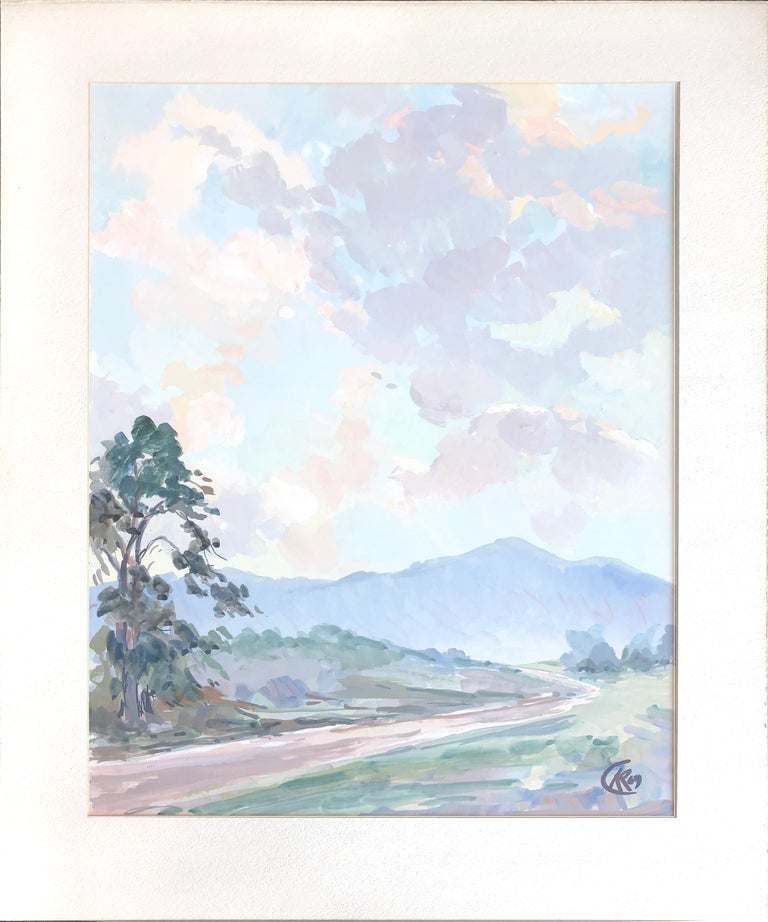 Mid Century Tonalist Landscape of California Country Road - Painting by Unknown