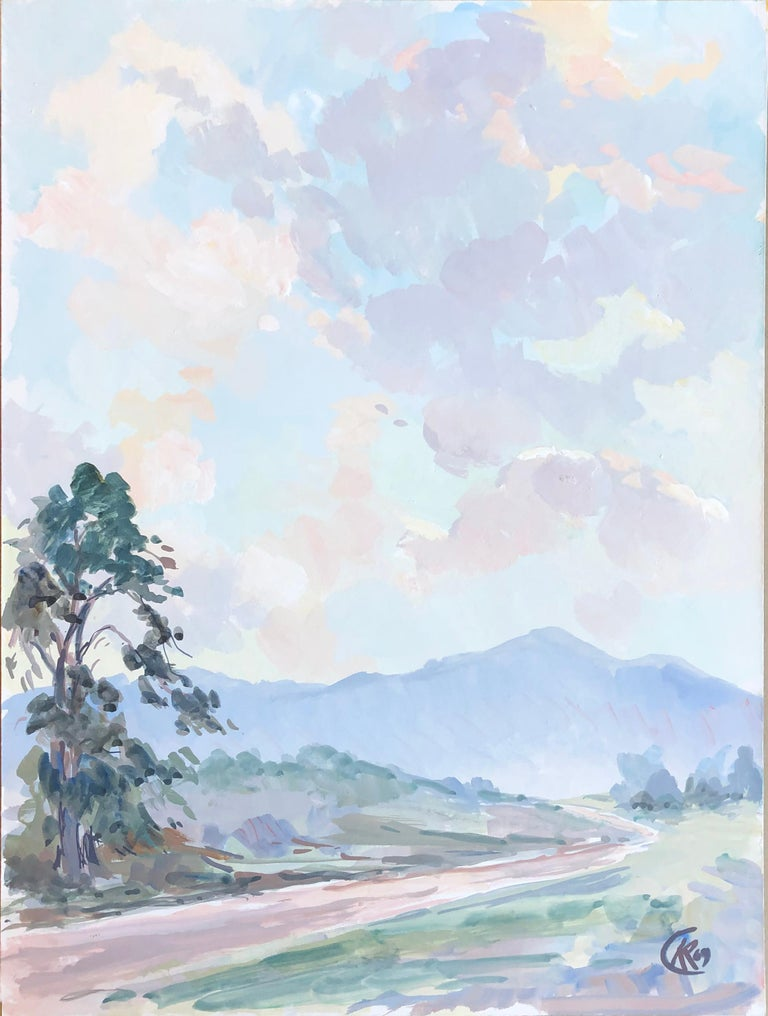 Mid Century Tonalist Landscape of California Country Road - Gray Landscape Painting by Unknown