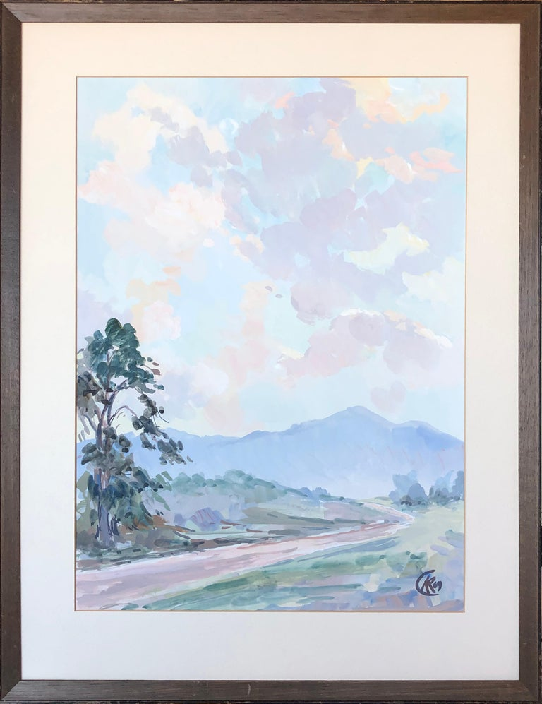 Unknown Landscape Painting - Mid Century Tonalist Landscape of California Country Road