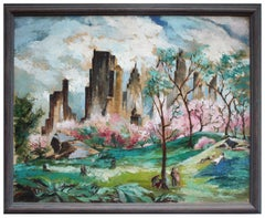 "Midcentury Figurative Landscape - After Adolf Dehn's ""Spring in Central Park"""
