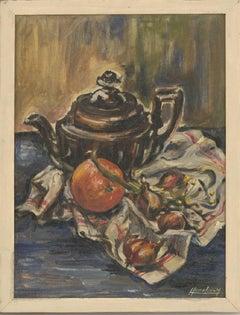 Mireille Hanchar - Fine Mid 20th Century Oil, Teapot and Fruit on a Tea Towel