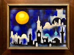 Mod 1970's Israeli Judaica Folk Art Jerusalem View Enamel on Copper Painting