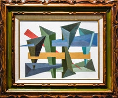 Modern Abstract Geometric (Framed Oil on Canvas in Blue, Green, Coral, and Ocre)