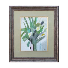 Modern Abstract Impressionist Green & Yellow Floral Still Life Oil Painting