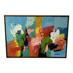 Modern Abstract Painting in Floating Frame
