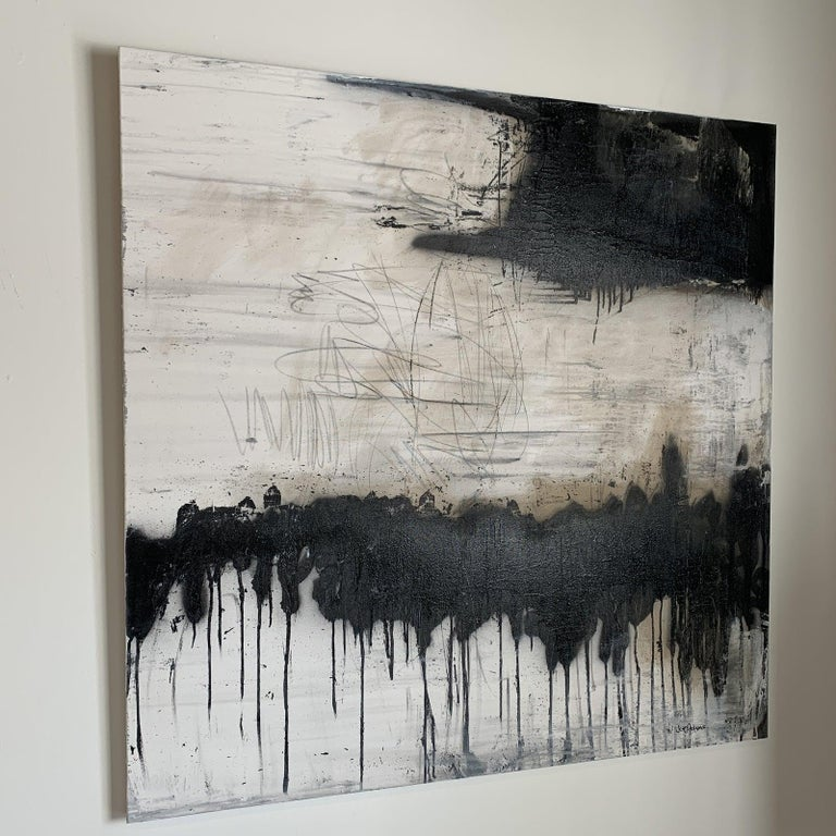 Artist: Joe Adam Strong Black & White with tad taupe coming through. 48 x 48 Wired and Ready to hang - Gallery wrapped canvas