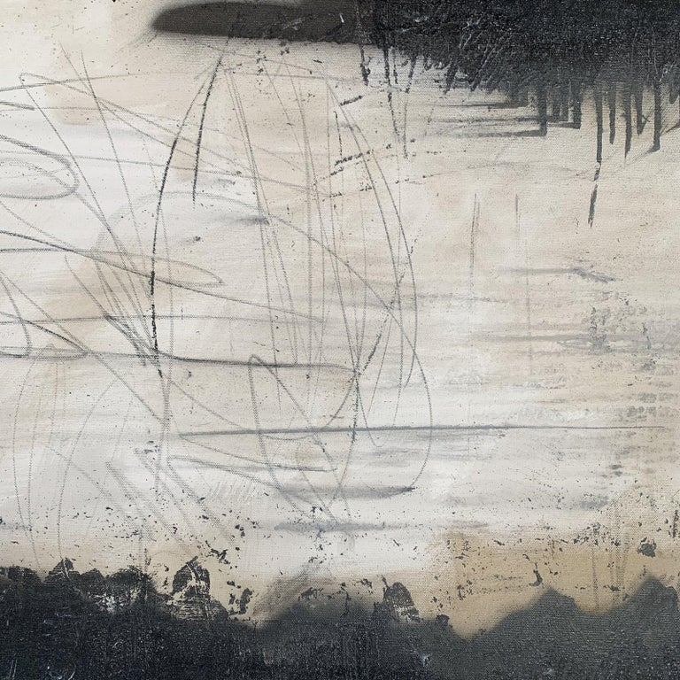 Modern Black & White Abstract Painting  For Sale 2