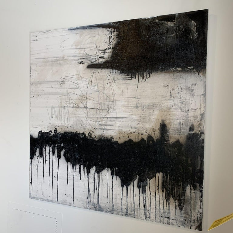 Modern Black & White Abstract Painting  For Sale 3