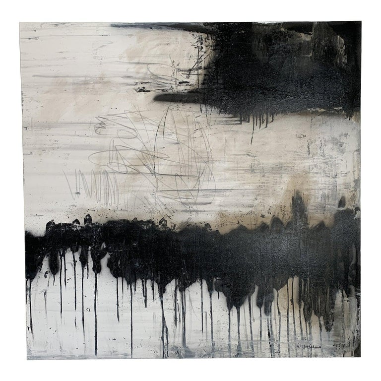 Modern Black & White Abstract Painting  - Mixed Media Art by Unknown