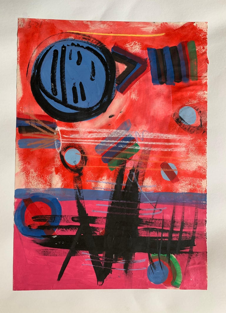 Modern British 20th Century Colourful Abstract Painting - Geometric shapes - Art by Unknown