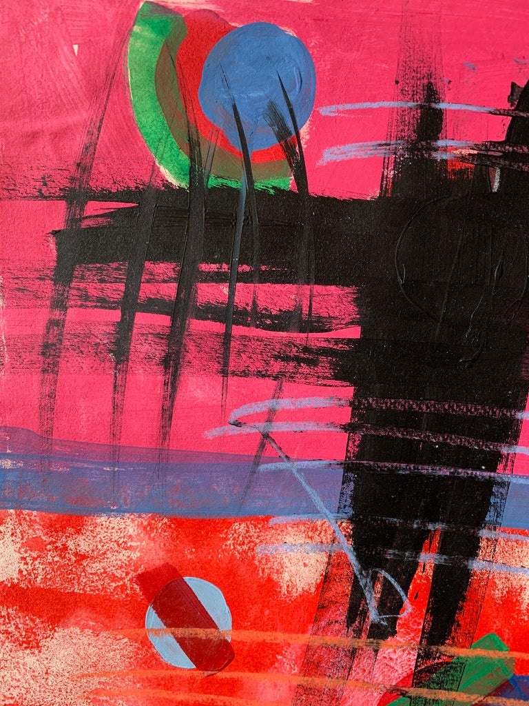 Abstract Composition British School, monogrammed/ dated lower corner gouache painting on paper laid over card, unframed actual painting: 22 x 15.5 inches  Superb - bold - and very colourful modern abstract painting, ideal for making a major