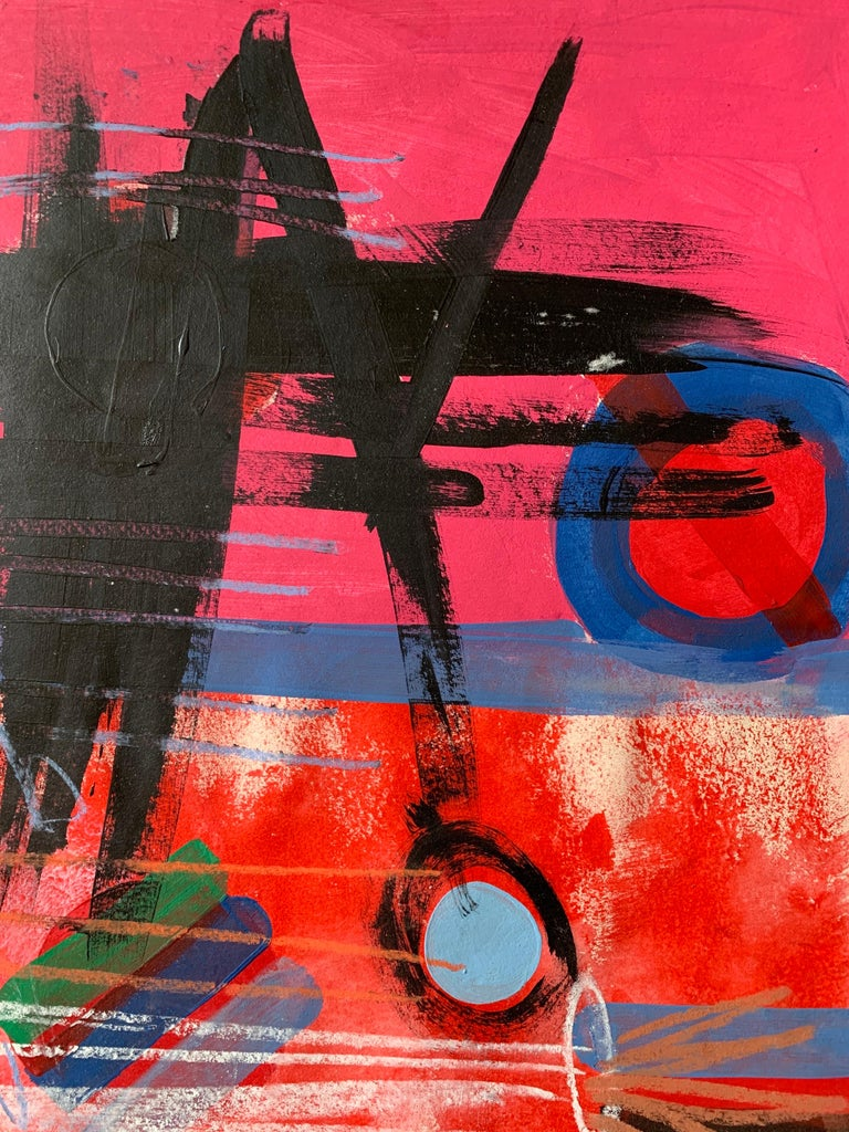 Modern British 20th Century Colourful Abstract Painting - Geometric shapes For Sale 1