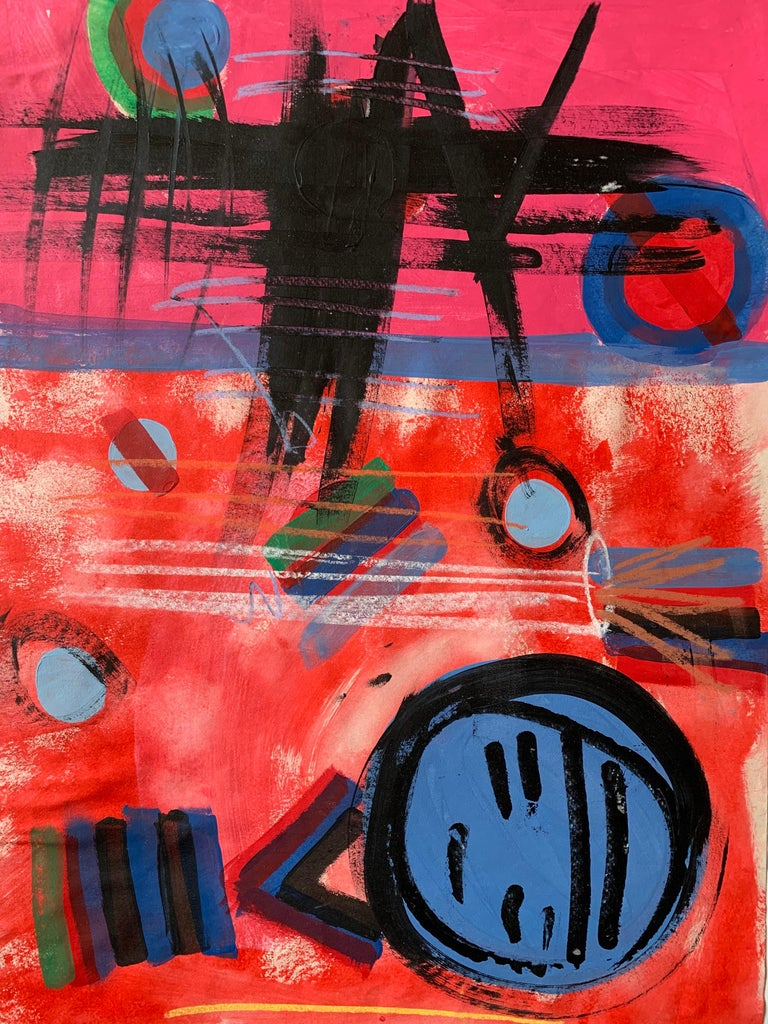 Unknown Abstract Drawing - Modern British 20th Century Colourful Abstract Painting - Geometric shapes