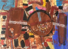 Modern British 20th Century Colourful Abstract Painting - Geometric shapes