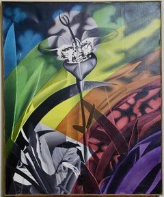 Modern, decorative flower painting, acrylic on canvas. Signed and dated.