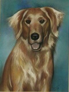 Modern Golden Retriever Dog Oil Pastel Painting
