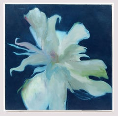 Modern Mid Century Expressionist Floral Oil Painting Framed Blue White Lily