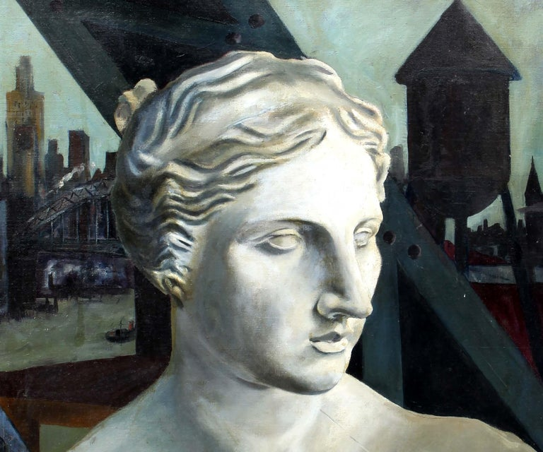 A captivating original modernist oil on canvas by an unknown artist.  The rare subject matter depicts a carved marble bust in front of an industrial back drop.  The painting has a surreal quality as the sculpture feels alive.   The painting is