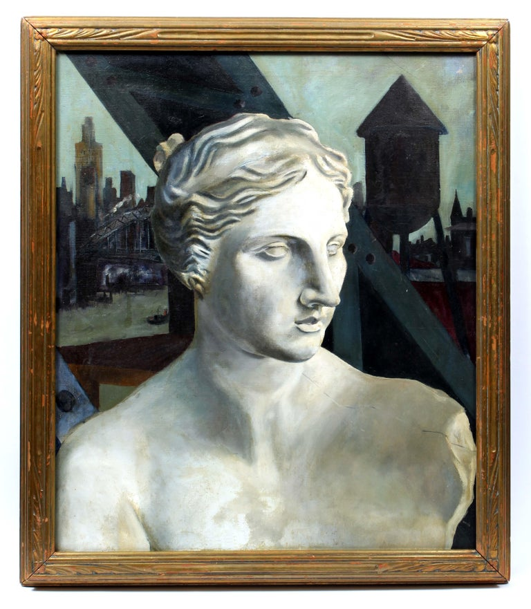 Unknown Figurative Painting - Modern New York Industrial Oil PaintingCarved Sculpture Arts n Crafts Frame RARE
