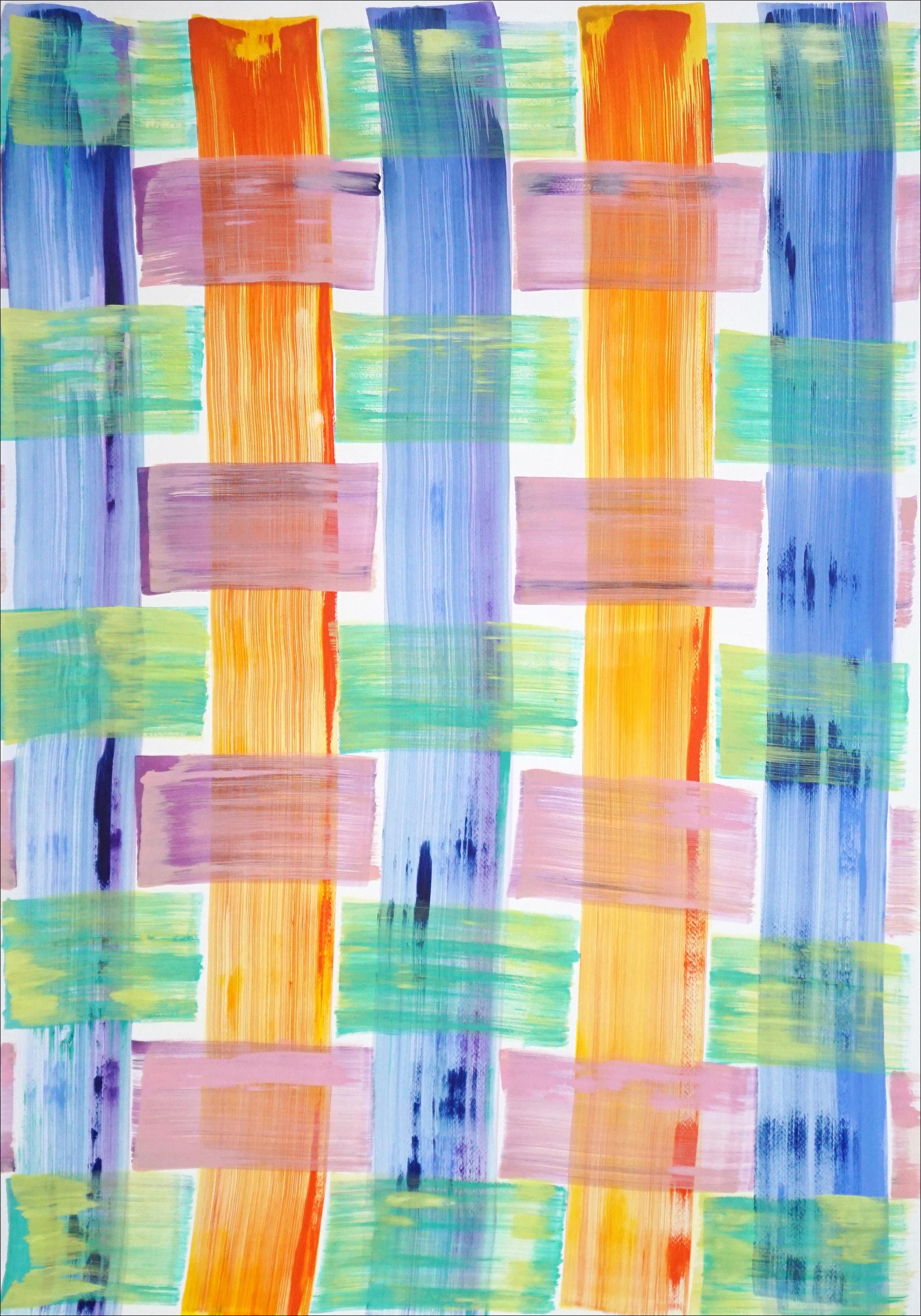 Modern Painting of Cold Tones Brushstroke Plaid Pattern, Beach Cabin Inspiration