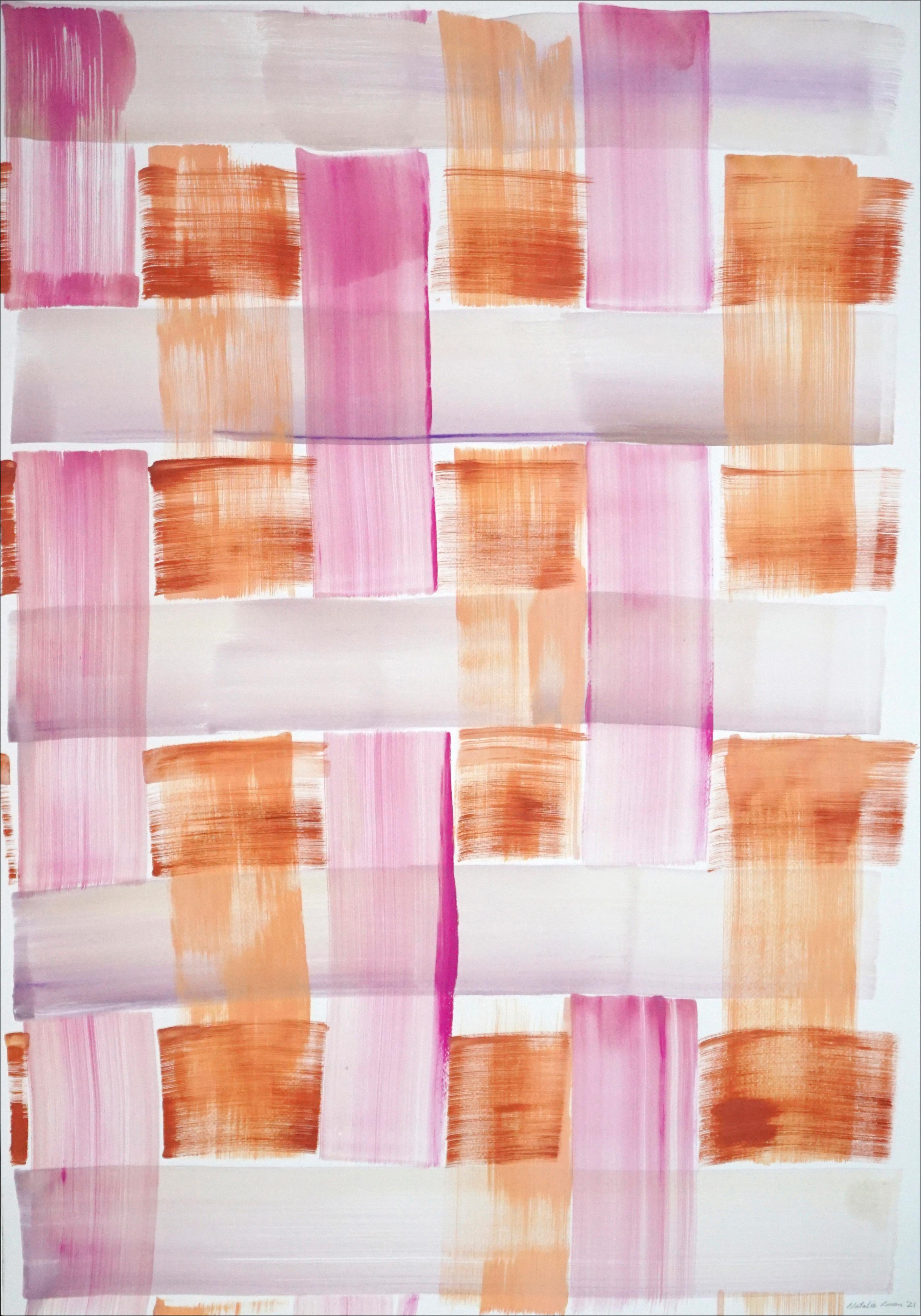 Modern Painting of Pink and Orange Brushstroke Grid, Soft Tones Acrylic on Paper