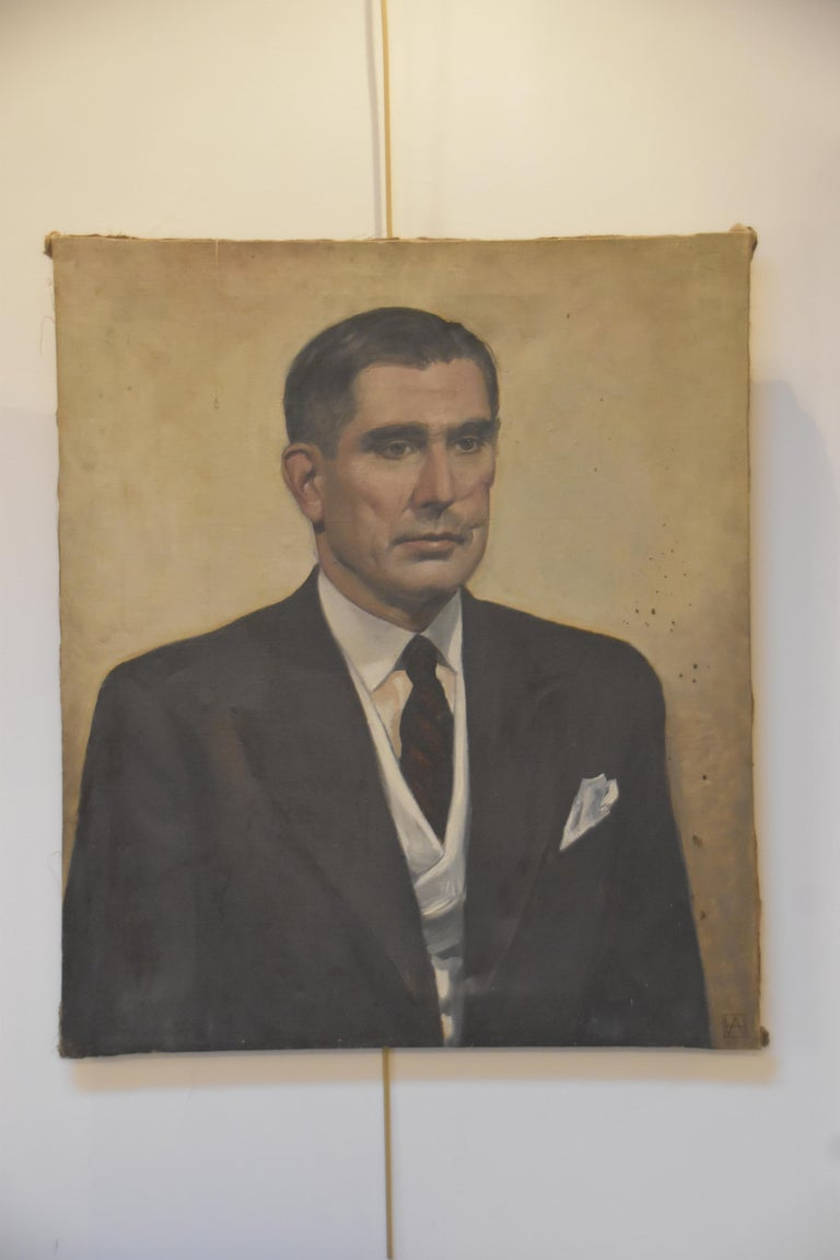 Modern school, 20th century, Portrait of a man, monogrammed AH For Sale 7