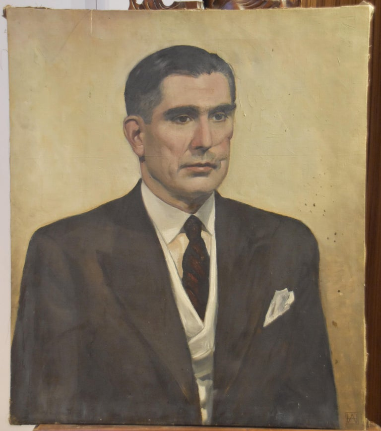 Modern school, 20th century, Portrait of a man, monogrammed AH For Sale 3