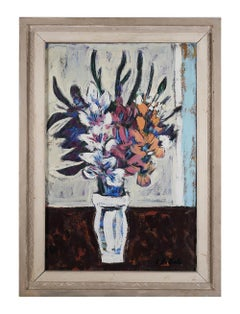 Modern Signed Still Life Floral Oil Painting