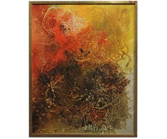 Modern Textured Yellow with Orange Abstract Expressionist