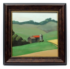Modernist Barn Landscape Summer Country Oil Painting American Framed Green