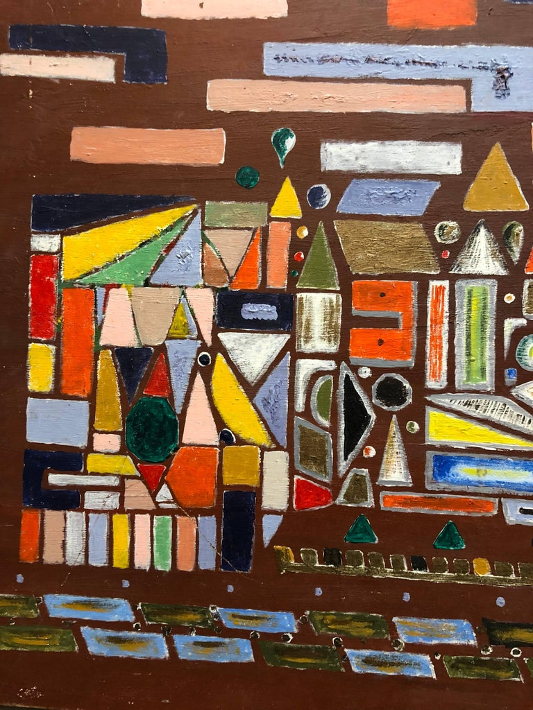 Modernist Colorful Oil Painting Geometric Abstract Shapes - Brown Abstract Painting by Unknown