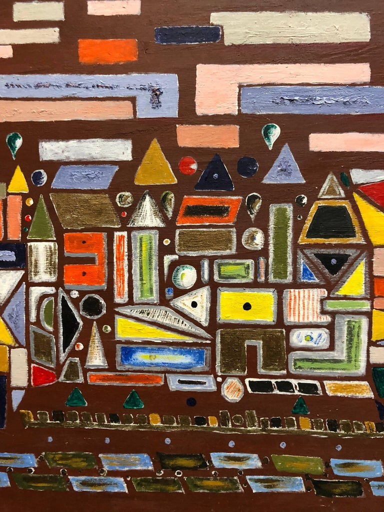 Modernist Colorful Oil Painting Geometric Abstract Shapes For Sale 1