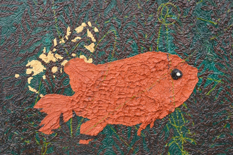 Modernist Impasto Goldfish - Painting by Unknown
