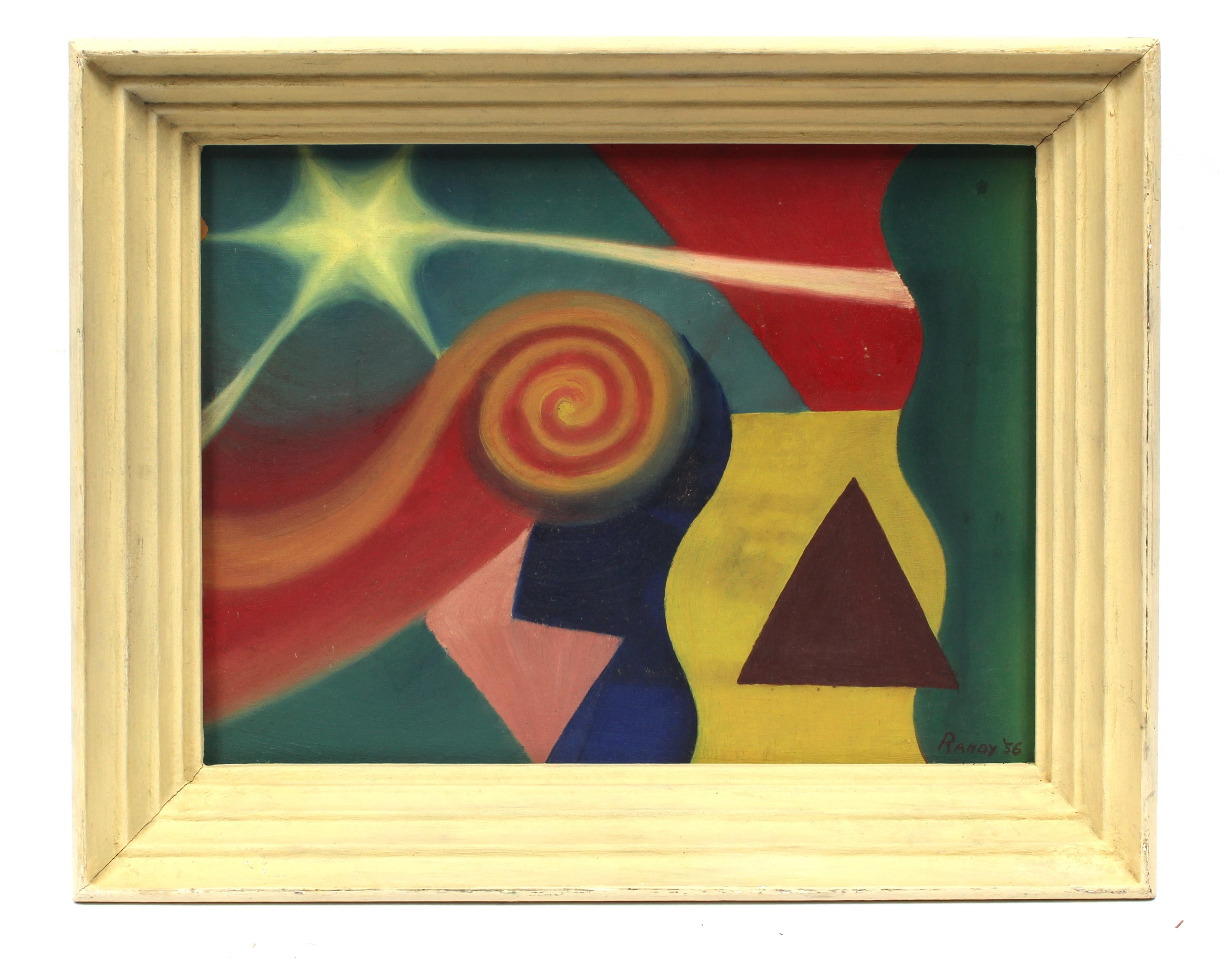 Modernist Mid Century Colorful Painting Framed Abstract Star Bright Period