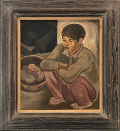 """Modernist Portrait, Boy Seated "" Mid Century Oil Painting on Canvas"