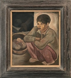 """""""Modernist Portrait, Boy Seated """" Mid Century Oil Painting on Board"""