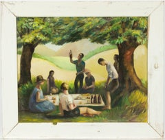 Modernist Spanish Mid 20th Century Oil - Figures at a Summer Picnic