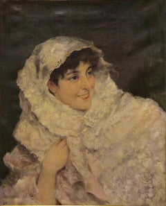 "Monogrammed. G.A. ""The veiled lady"" 19. Century impressionist Portrait"