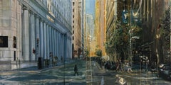 Montgomery St., diptych - abstracted figure, cityscape in a thick impasto oil