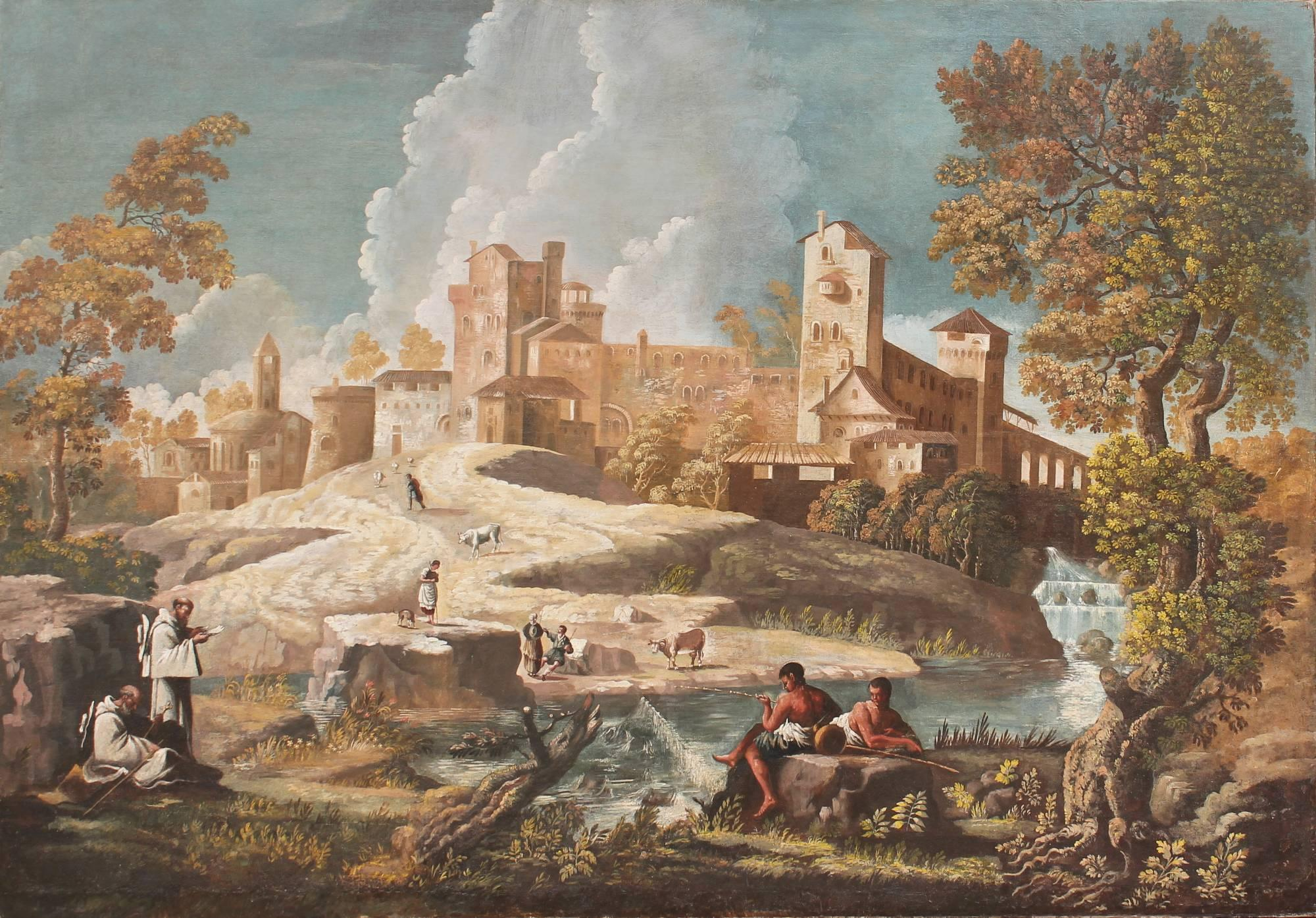 Monumental 17th Century Landscape Painting with Figures in an Arcadian setting