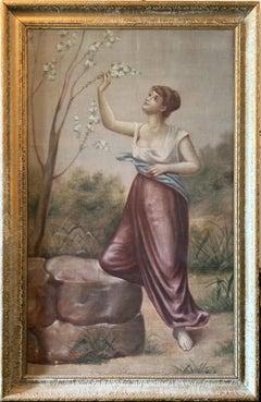 Monumental Antique Italian Portrait Oil Painting - 5.8 ft. tall