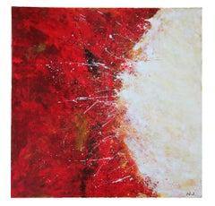 Monumental Red and White Abstract Expressionist Painting