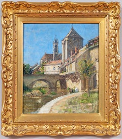 """""""Moret-Sur-Loing"""" French Impressionist School Oil Painting on Wood Panel"""