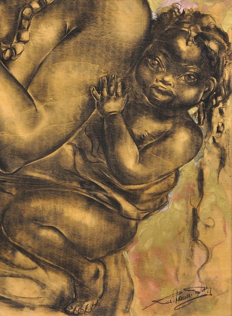 Mother and Child. African School. Indistinctly Signed. 20th C. Original Artwork. For Sale 6