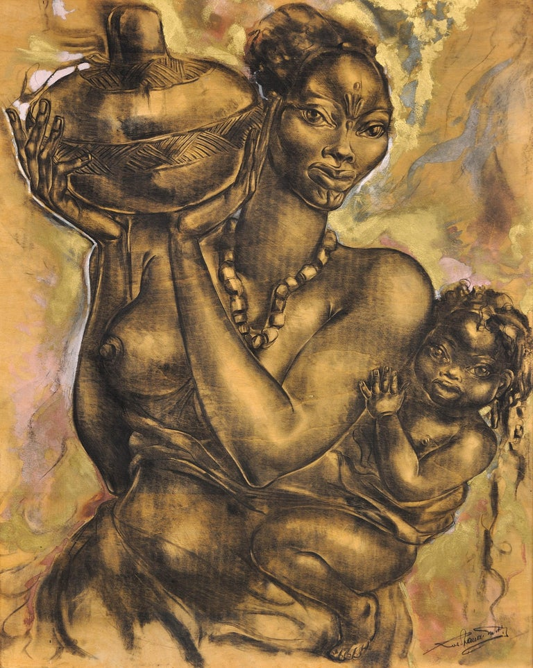 Mother and Child. African School. Indistinctly Signed. 20th C. Original Artwork. - Painting by Unknown