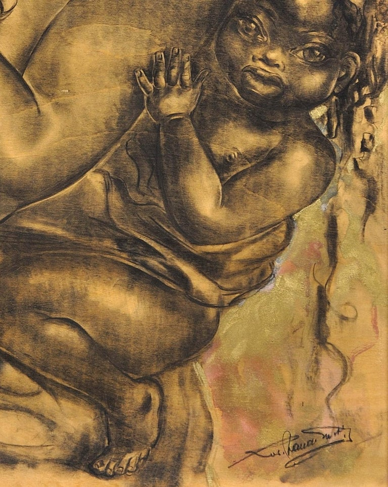 Mother and Child. African School. Indistinctly Signed. 20th C. Original Artwork. For Sale 4