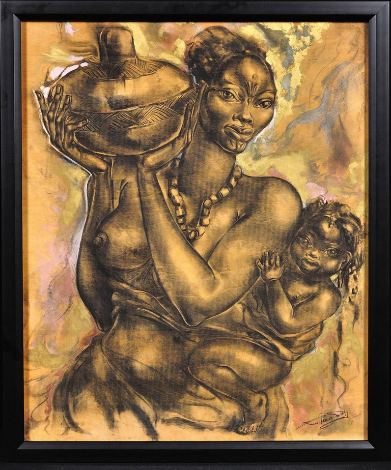Unknown Figurative Painting - Mother and Child. African School. Indistinctly Signed. 20th C. Original Artwork.