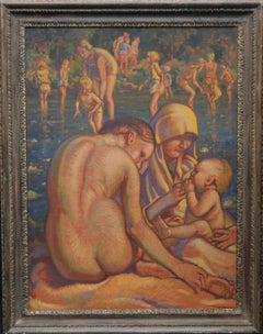 Mother and Child Bathing - British Slade School 30's Art Deco nude oil painting